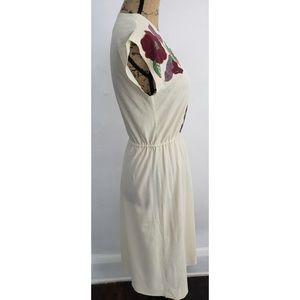Vintage Dresses - Vintage 70s Cream cinched waist floral dress